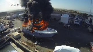 Raw Video: Drone Captures $24 Million Yacht on Fire