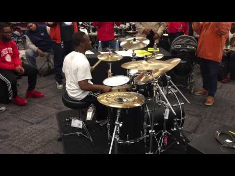 Guitar Center Drum Off Quarterfinal winner for Michigan Anthony Burns curtain call at GC Southfield!