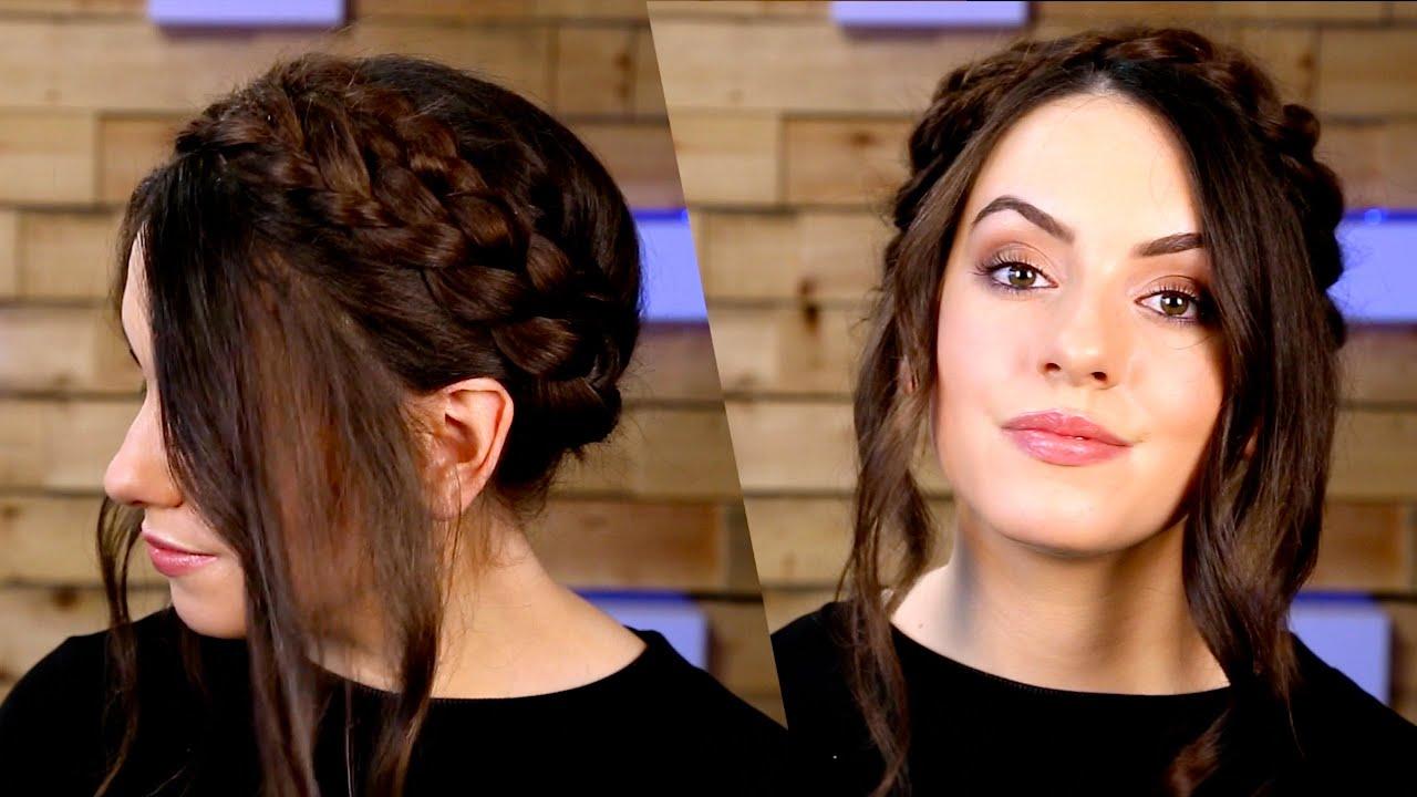 Tutorial: milkmaid braid for short hair youtube.