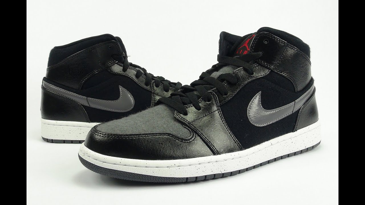 air jordan 1 mid black dark grey on feet