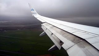 KLM Boeing 737-900 turbulent approach and landing at Amsterdam Schiphol AMS
