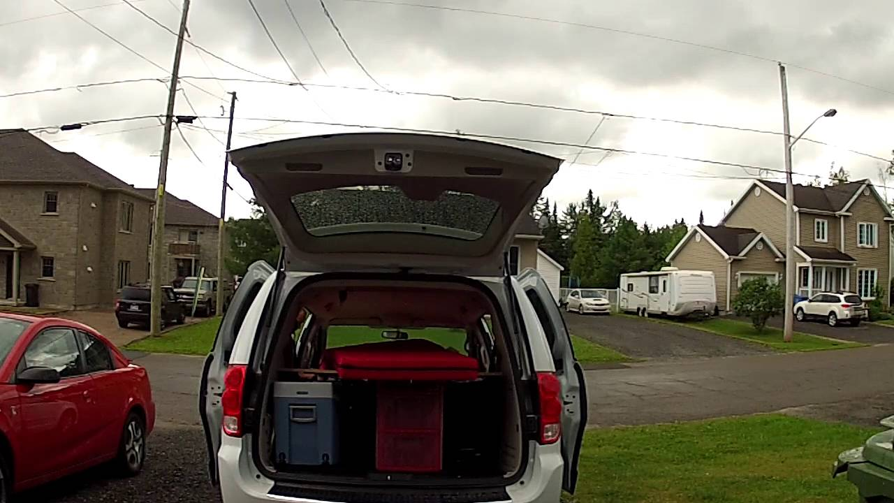 Convert Grand Caravan In a bed for 4 person - YouTube