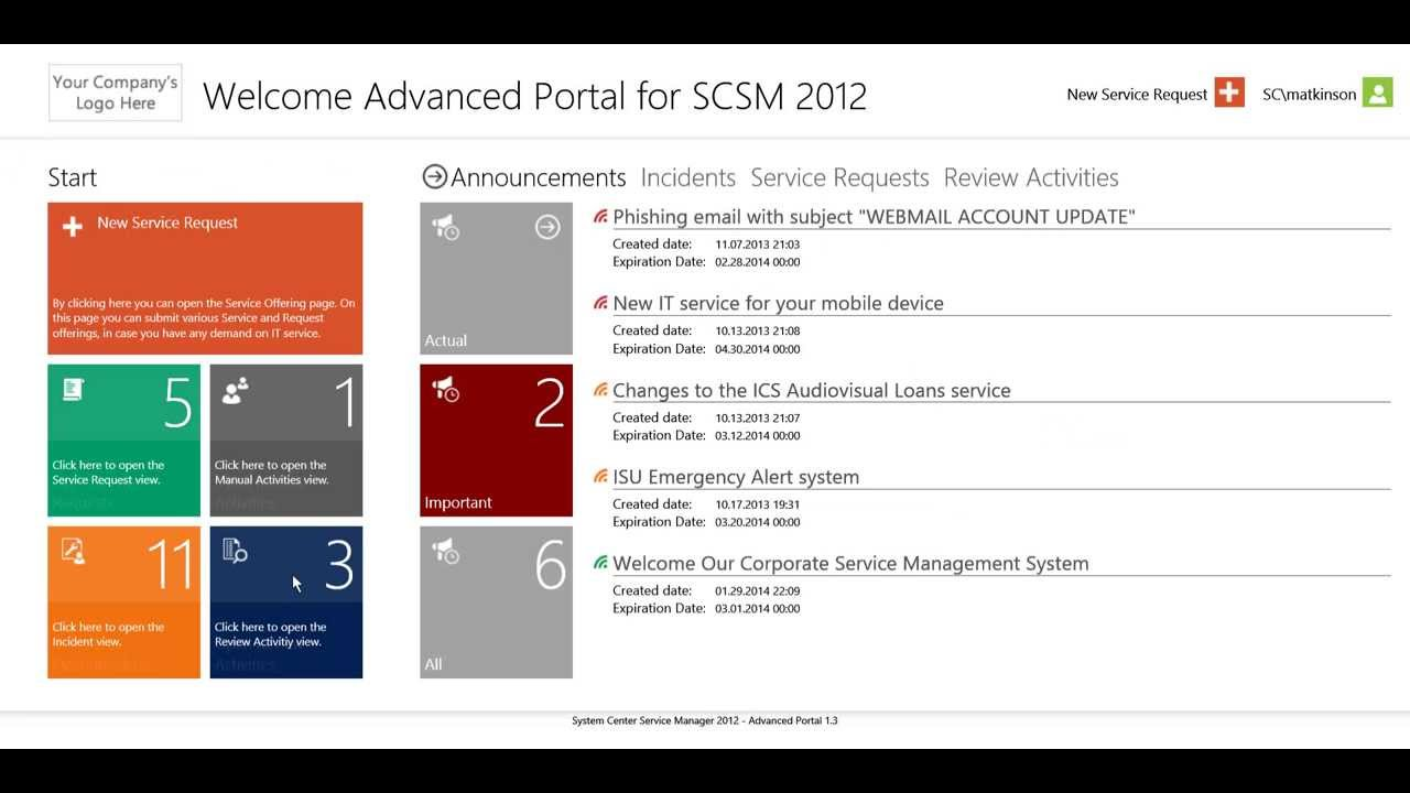 Advanced Portal For Scsm 2012 Youtube