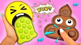 Необычный Поп ит Эмодзи 😍 Как сделать Антистресс Pop it пупырку своими руками💩 Diy fidget toys Emoji видео