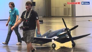 GIANT but SUPER LIGHT INDOOR FLIGHT 1:4 SCALE RC F4U CORSAIR (FOLDING WINGS / TWIST & TURN RETRACTS)