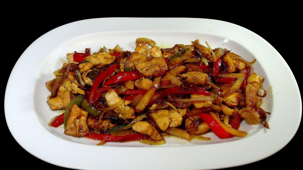 pollo con pimientos y salsa de soja