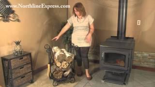 Elegant Black Scroll Firewood Log Rack With Fireplace Tools