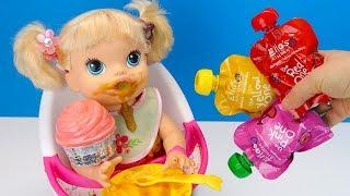 ЛЕНИВАЯ Девочка Не Хочет ЖЕВАТЬ Фрукты #Кукла Кушает Открывает НАМ НОМС Num Noms Игрушки