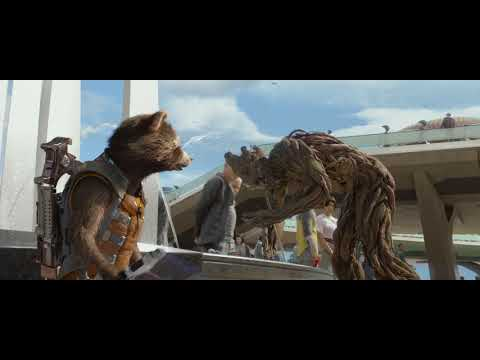 The first travel to earth of Groot and his companion