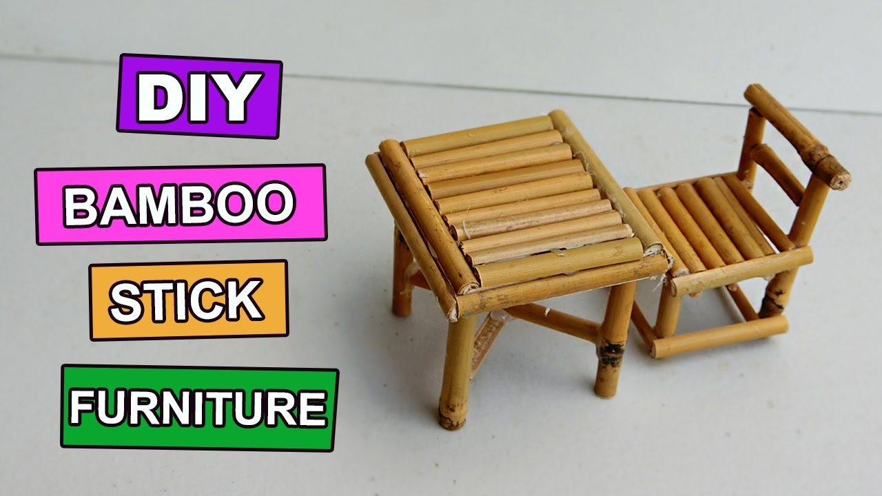 Diy Bamboo Stick Table And Chair Mini Furniture 5