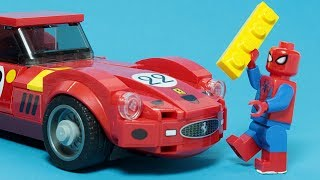 Lego Spiderman Brick Building Ferrari 250 Gto And Cars Animation For Kids