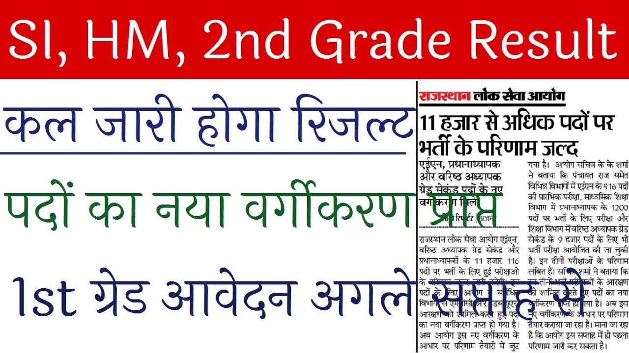 RPSC 2nd Grade Result 2019/ RPSC HM and SI Results 2019/ RPSC 1st Grade  Online Form Latest News