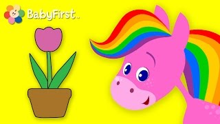 Flowers | Coloring and Music | Rainbow Horse | BabyFirst TV
