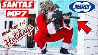 Tactical Santa Destroys Airsoft Cheater   Tokyo Marui HPA Mp7 Gameplay   Paintball Explosion Indoor