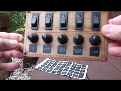 Walnut switch panel - 5 LED switches - 5 ircuit breakers- Supplied with switch labels