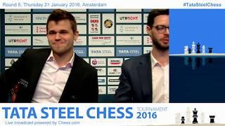 Magnus Carlsen beats Loek Van Wely, fun interview and Analysis - Tata Steel Chess 2016