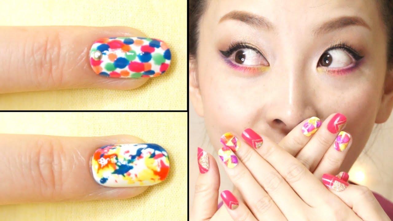 Dotted & Splash Nails Tutorial + REVLON Nail Art Neon ...