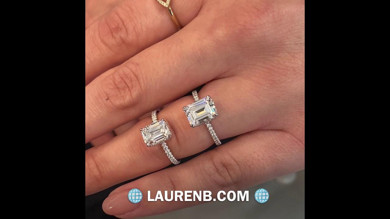 Diamond VS Moissanite: Emerald Cut Engagement Rings - YouTube