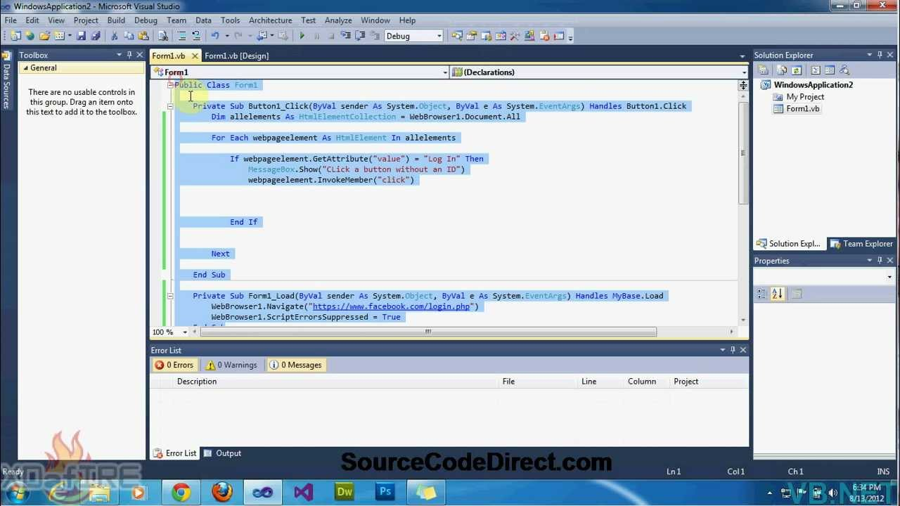 {VB NET}∞Tutorial 18 - Click a button on a website [Without an ID]