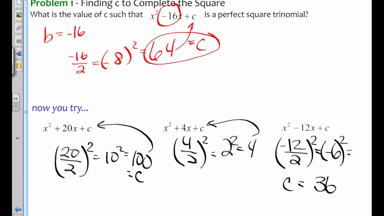Algebra 1 95pleting The Square