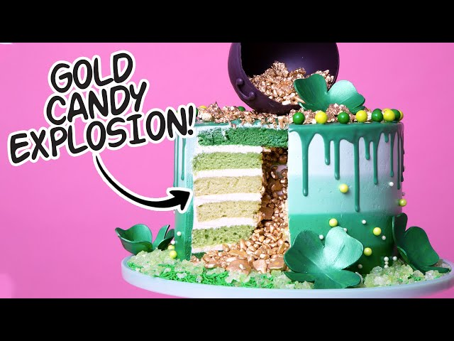 St. Patricks Day Explosion Cake! | Green Ombre, Gold Candy Surprise Inside | How To Cake It