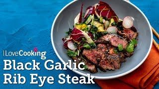 Black Garlic Steak with Courgette, Radish & Cabbage Salad from Kwanghi Chan