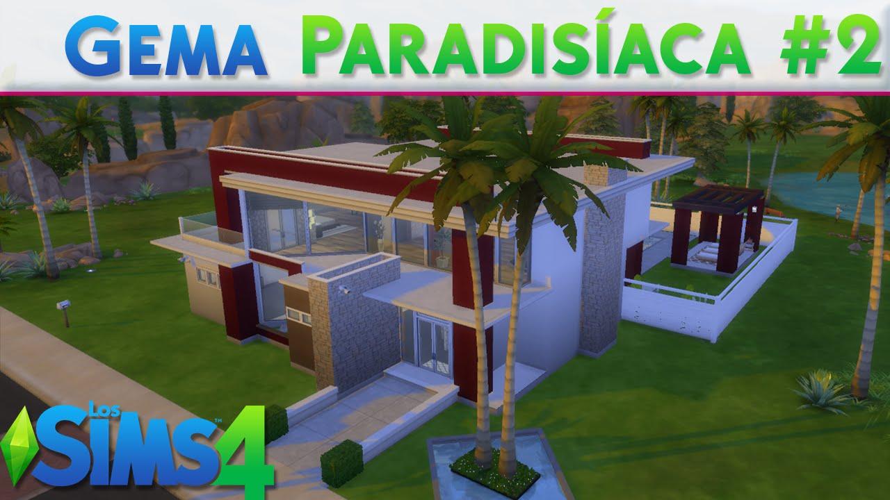 Gema paradis aca 2 construcci n moderna los sims 4 for Casa moderna los sims 4