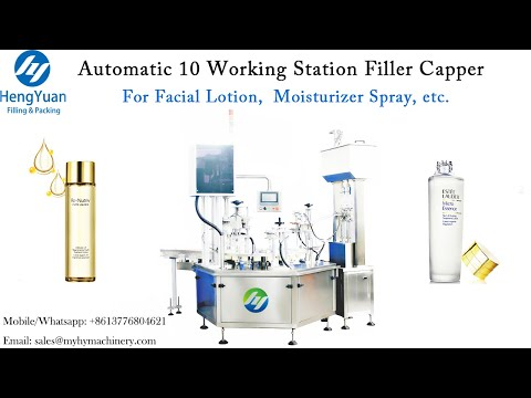 Automatic Cosmetics Liquid Filling Capping Machine   10 Working Station Filling Capping Equipment