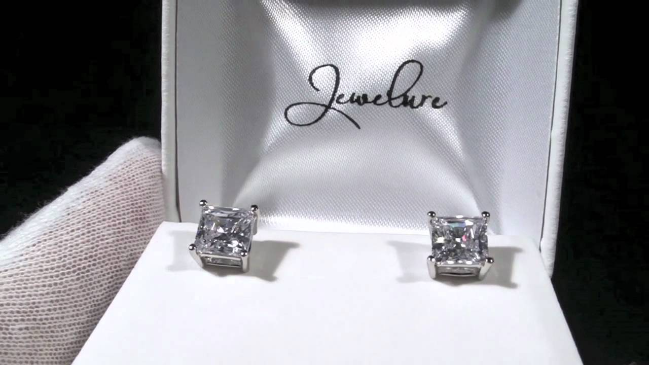 Jewelure 7mm Princess Cut 5a Flawless Simulated Diamond Studs