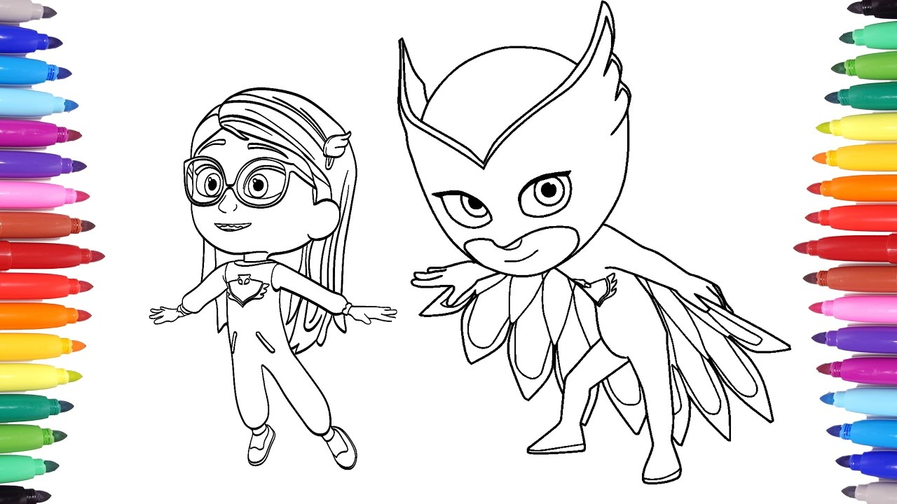 pj masks coloring pages for kids amaya transforms into owlette