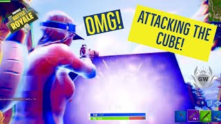 CAN WE DESTROY IT WITH EXPLOSIVES!? FORTNITE BATTLE ROYALE THE CUBE ATTACKS! ATTACK THE CUBE!