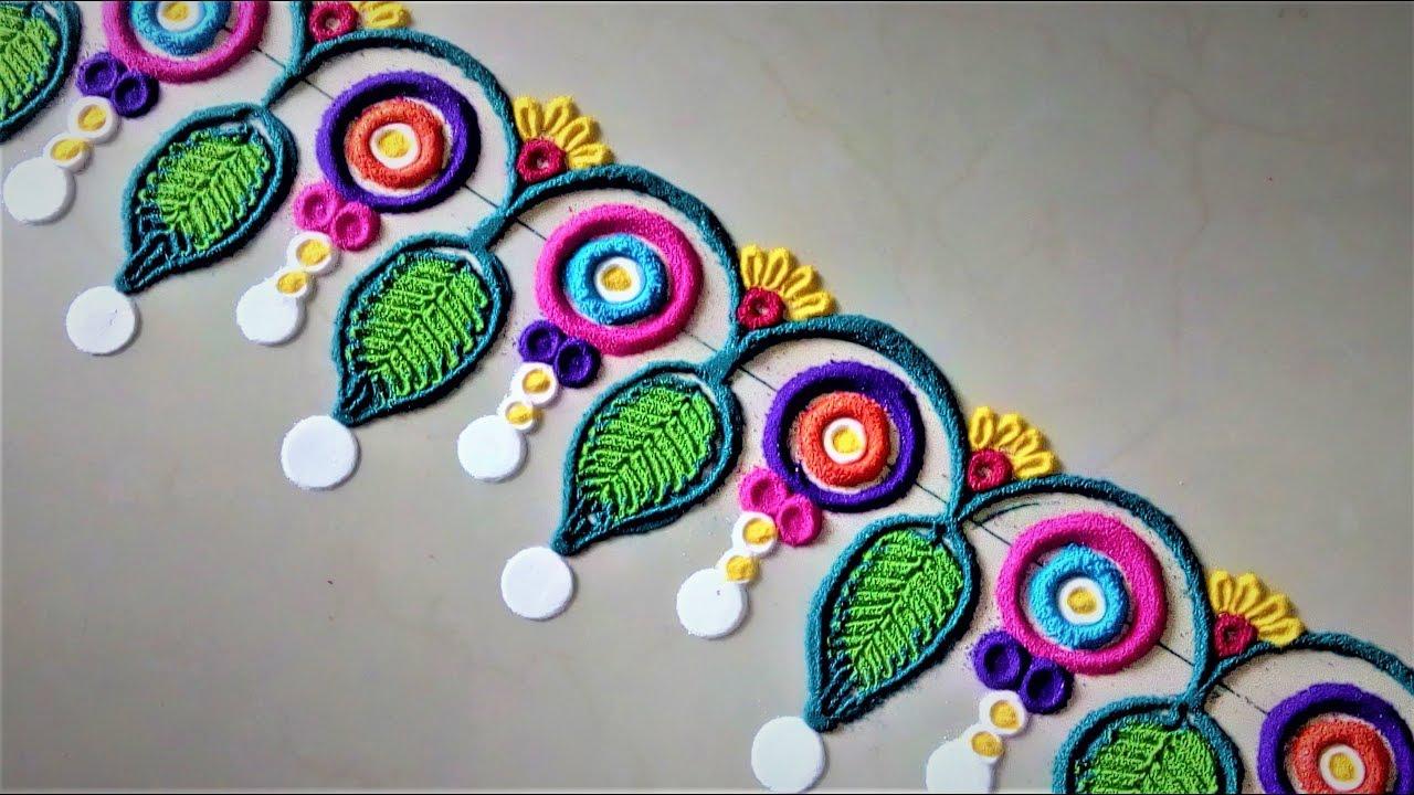 Creative multicolored border rangoli design easy rangoli for Door entrance rangoli designs