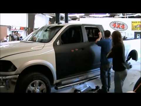 Dodge Ram matte black wrap time lapse - YouTube