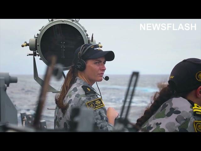 Royal Australian Navy Ships Conduct Replenishment At Sea With US Navy