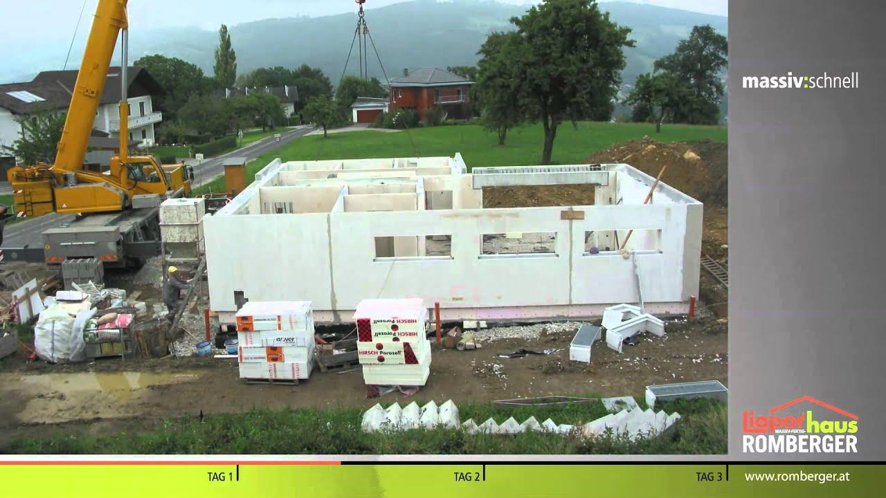 Montage eines Romberger Liapor Massiv-Fertighaus im Zeitraffer - YouTube