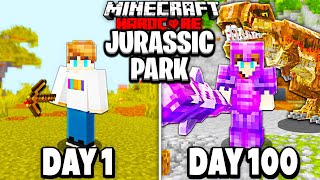 I Survived 100 Days in JURASSIC PARK Minecraft With FRIENDS...