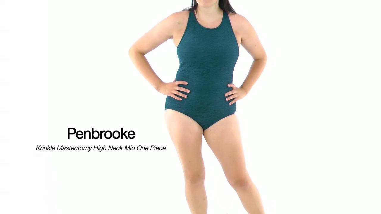 7f834963fda Penbrooke Krinkle Chlorine Resistant Mastectomy High Neck One Piece Swimsuit  | SwimOutlet.com