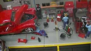 Snap-On Garage Diorama Updates, 1:18 Diecast Cars, Gas Island & Pumps By Crown Premiums