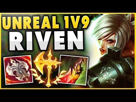 THIS 1V9 RIVEN BUILD IS ACTUALLY BEYOND BROKEN! MASSIVE HEALS + DMG (UNKILLABLE) - League of Legends