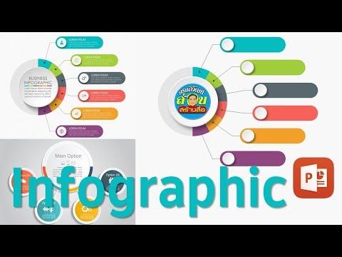 PowerPoint : อินโฟกราฟิกแบบส่วนในวงกลมสีเรียงติดกัน