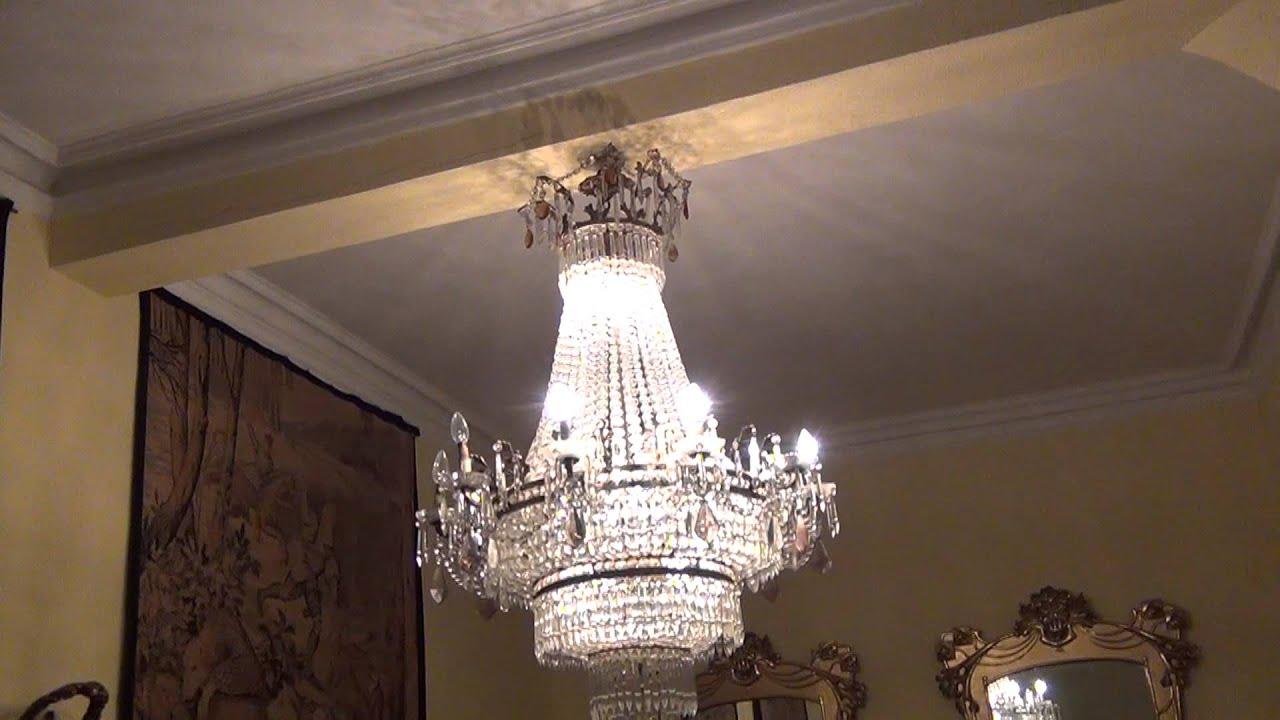 L mpara ara a de cristal y bronce estilo luis xv youtube - Lampara de arana de cristal ...