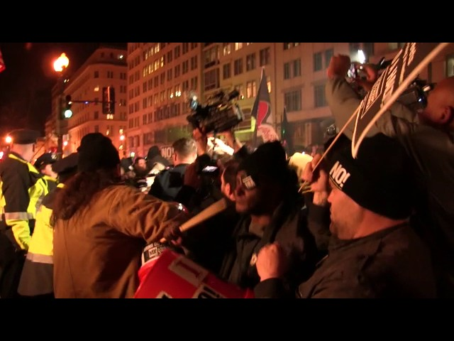 VIDEO: Anti-Trump Protesters Get Violent with Police at 'DeploraBall' Event