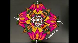 Festival special..kalasam rangoli..lotus..deepam kolam..simple rangoli..9 to 3..