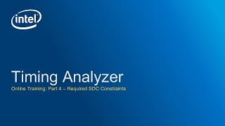 Timing Analyzer: Required SDC Constraints