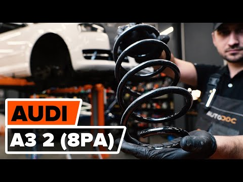 How to change front springs / front coil springs on AUDI A3 2 (8P1) [TUTORIAL AUTODOC]