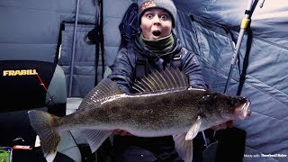 Ice Fishing Mille Lacs Lake (BIG WALLEYE)