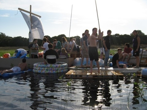 Stanford floatopia 2008 party on lake lagunita