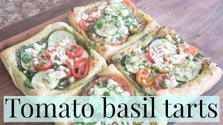 Tomato Zucchini Tart with feta and pesto