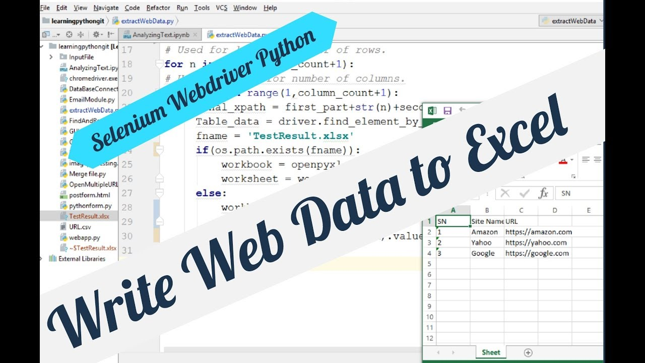 Write Web Page Data to Excel Using Selenium in Python