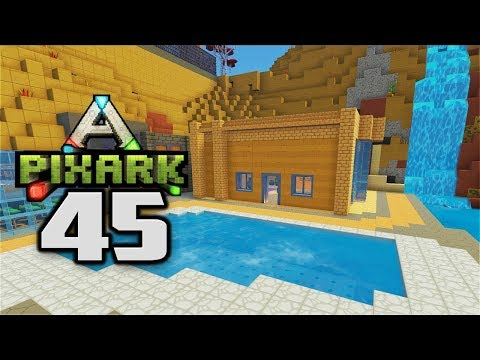 BUILDING A SWIMMING POOL - Let's Play PixARK Gameplay Part 45 (PixARK Pooping Evolved Building)